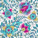 美丽的与红色和蓝色花的葡萄酒花卉无缝的样式背景 免版税库存图片