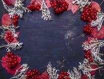 秋天文本的装饰、莓果和叶子地方框架,构筑木土气背景顶视图 免版税库存图片