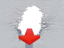 Стрелка аварии стены Стоковая Фотография