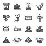 Εικονίδια λαχειοφόρων αγορών καθορισμένα Στοκ εικόνες με δικαίωμα ελεύθερης χρήσης
