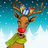 与礼物和山背景的驯鹿 免版税库存照片