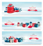 圣诞节与礼物的冬天横幅 免版税库存图片