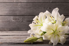 Лилия на деревянной предпосылке Стоковое фото RF