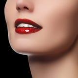 完善与白色健康牙和红色嘴唇,牙齿保护概念的微笑 与自然微笑的美好的少妇的面孔片段 免版税库存图片