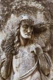 耶稣基督-好牧羊人(古老雕象的片段) 免版税图库摄影