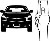 Автомобиль и карточка в векторе руки Стоковое фото RF