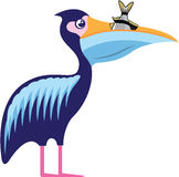 Пеликан изолированный с иллюстрацией вектора рыб Стоковое Фото