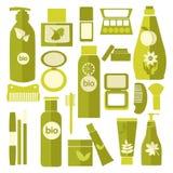 传染媒介化妆用品和被设置的美容品包裹 免版税库存图片