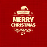 葡萄酒减速火箭的平的样式时髦圣诞快乐卡片和新年祝愿问候 库存照片