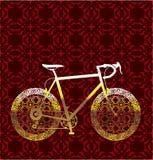 金黄自行车传染媒介艺术 免版税库存图片