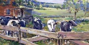 与母牛的风景在下部萨克森地区 免版税库存照片