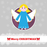 与天使的圣诞卡模板 库存图片