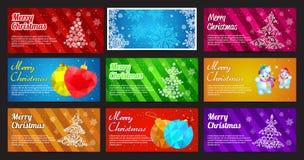 新年快乐和圣诞快乐导航与装饰品雪花杉木、球、玩具和雪人的横幅水平的集合 免版税图库摄影