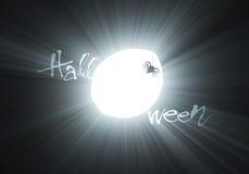 火光万圣节月亮可怕蜘蛛 免版税库存图片