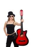 少妇在白色隔绝的吉他演奏员 库存照片