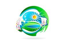 зацветите женский логотип, здоровый символ девушки, дизайн концепции женщины ароматности естественный Стоковая Фотография RF