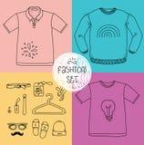 Συρμένο χέρι σύνολο ιματισμού Κενή μπλούζα, πόλο Στοκ Φωτογραφίες