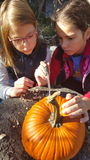 雕刻南瓜的两个女孩 免版税库存照片