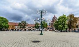 考纳斯,立陶宛,欧洲,城镇厅正方形 免版税库存照片