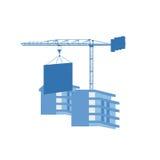 Γερανός στο εργοτάξιο οικοδομής Στοκ Εικόνες