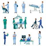 Ιατρικά επαγγελματικά επίπεδα εικονίδια ανθρώπων καθορισμένα Στοκ εικόνα με δικαίωμα ελεύθερης χρήσης