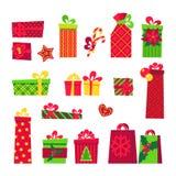 Σύνολο κιβωτίων δώρων Χριστουγέννων Στο λευκό Στοκ Φωτογραφία