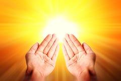 祈祷的手,伊斯兰教的背景 库存图片