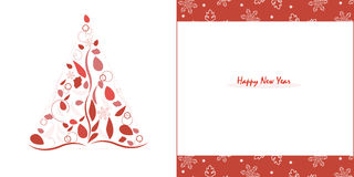 Счастливые Новые Годы сосны с вектором поздравительной открытки листьев и снежинки красного цвета Стоковая Фотография