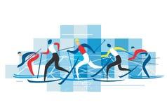 越野滑雪者 免版税库存照片