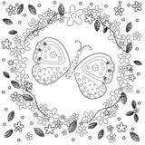 Η χρωματίζοντας σελίδα βιβλίων για τη δημιουργία τέχνης γραμμών ενηλίκων, τα λουλούδια και η πεταλούδα, χαλαρώνουν και το διάνυσμ Στοκ Εικόνες