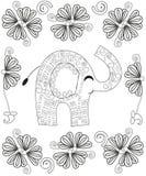 成人的线艺术创作彩图页,手拉的大象放松和凝思 免版税库存照片