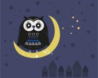 Сыч сидя на луне на предпосылке вектора ночи Стоковые Фото