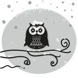 猫头鹰坐月亮在夜传染媒介背景 库存图片