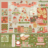 被设置的圣诞节剪贴薄-装饰元素 免版税库存照片