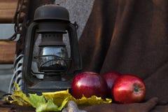 静物画一个油灯和红色苹果反对一块棕色布 免版税库存图片