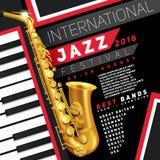 Плакат джазового фестиваля Стоковые Фото