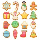 被设置的五颜六色的美好的圣诞节曲奇饼象 免版税图库摄影