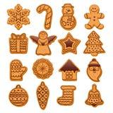被设置的五颜六色的美好的圣诞节曲奇饼象 库存图片