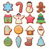 被设置的五颜六色的美好的圣诞节曲奇饼象 免版税库存照片