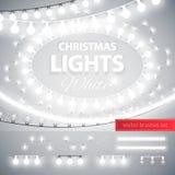 白色圣诞节光装饰集合 免版税库存图片