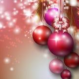 Ανασκόπηση με τα μπιχλιμπίδια Χριστουγέννων Στοκ φωτογραφία με δικαίωμα ελεύθερης χρήσης