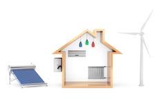 风车和太阳水加热器导致房子的绿色能量 库存照片