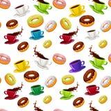 与油炸圈饼和咖啡的传染媒介无缝的样式 图库摄影