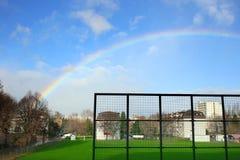 天空彩虹在晴天 库存照片