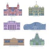 Τα μνημεία λεπταίνουν τα διανυσματικά εικονίδια γραμμών Στοκ Εικόνες