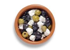 橄榄和希腊白软干酪 免版税图库摄影