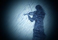 有小提琴的女孩 库存图片