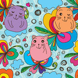 猫肥胖逗人喜爱的爱蝴蝶无缝的样式 库存图片