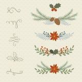 冬天手拉的植物边界和分切器 免版税库存照片