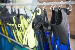 为潜水使用的设备 免版税库存图片